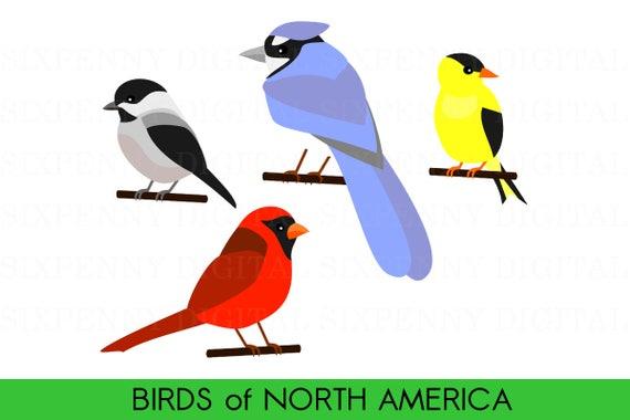 cute bird clipart birds of north america cardinal clipart rh etsy com chickadee clipart black and white