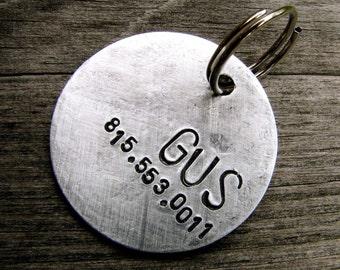 "Dog Tag / Pet ID Tag - Custom 1.25"" Gus Tag in Brushed Aluminum"