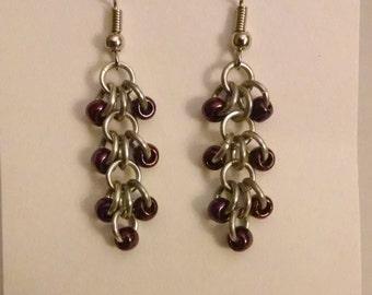 Deep Maroon Beaded Ring Earrings