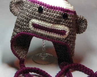Sock Monkey Earflap Hat for Toddler/Child