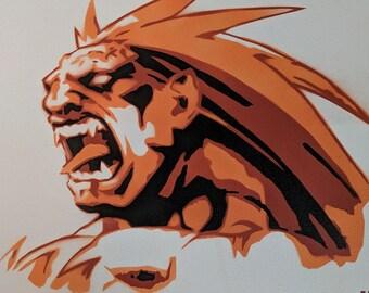 Blanka Street Fighter Spraypaint Stencil by Doudkine