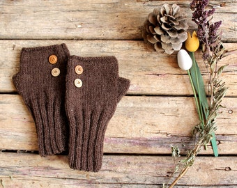 Knit Fingerless Gloves Men, Arm Warmers Brown, Hand Warmers Unisex, Knit Buttom Gloves Wool, Winter Accessories, Lover Gift, Father's Day