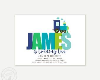 Train Birthday Invitation, Boy Birthday Invitation, Train Custom Name Invitation, Choo Choo Train, Printable, 1061