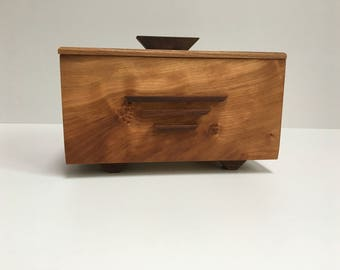 Stylish keepsake box made from Cherry and Walnut.