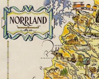 Vintage SWEDEN Picture Map of NORRLAND Sweden Print HUMOROUS Travel Map Gallery Wall Art Gift for Boyfriend Birthday Gift