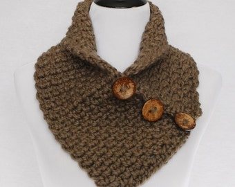 Brown Crochet Scarf, Chunky Button Cowl, Taupe Crochet Neck Warmer, Brown Wrap Scarf, Brown Button Scarf