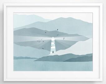 Nautical Decor, Lighthouse Art Print, Beach Decor, Nautical Nursery, Baby Boy - Blue Grey
