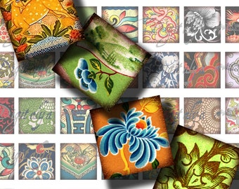 "Asian Ornament (7) Digital Collage Sheet - Square 1x1"" or 0.875"" or 0.75x0.83"" for scrabble and resin pendant - See Promo Offer"