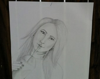 Original pencil drawing, 12X9 Pencil drawing on paper, Girl drinking Iced coffee, Pencil and paper sketch