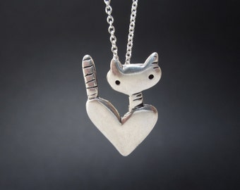 Pocket Cat Necklace - Sterling Silver Cat Pendant