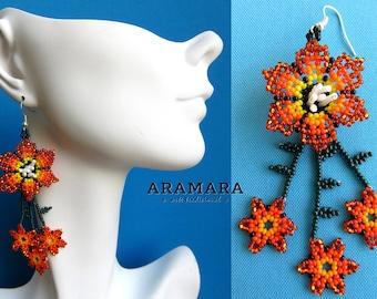 Huichol Earrings, Mexican earrings, Mexican Jewelry, Mexican folk art, Native american earrings, Flower Earrings, Beaded Flower, AF-0191