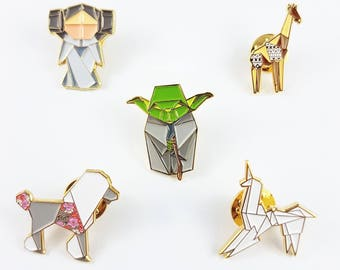 Any 4 Origami Soft Enamel Pin Collection,Enamel Pins,Origami Jewelry,Sloth Pin,Origami Crane,Paper Anniversary Gift,Enamel Pins,Lapel Pins