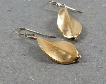 Gold Earrings Vermeil Twist Bead Earrings Matte Gold Gift for Mom