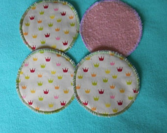 4 washable nursing pads or wipes round - fabric mini crowns + pink terrycloth - eco friendly and economical.