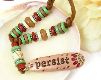 Persist Necklace, Persist Inspirational Word Necklace, Boho Leather Necklace, Tribal Necklace, Resistance Jewelry Women's Political Message