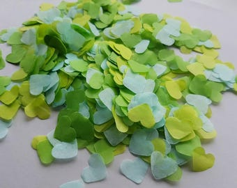 Green mix Mint,Lime, Grass -  heart confetti !Wedding,party table decoration,throwing! Romantic Autumn colours Biodegradable 2- 10 handfuls