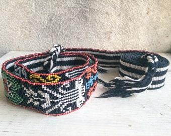 Vintage beaded Guatemala faja bohemian belt, gypsy belt, beaded belt, hippie sash, boho fashion, festival belt, Guatemalan textiles