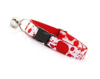 """Horror Movie Cat Collar - """"Dexter"""" - Horror Fan Gift / Halloween Cat Collar / Blood Spatters on White / Horror Art / Horror Decor"""