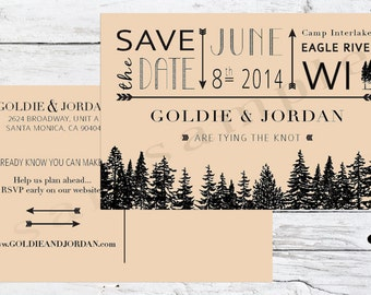 Rustic Forest Wedding Save the Date Postcards
