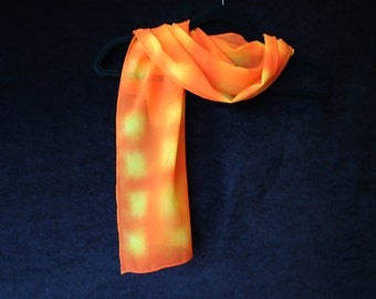 Orange Marmalade -  Handpainted Silk Chiffon Scarf