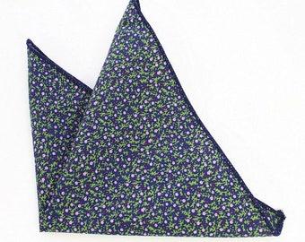 Navy Blue Floral Pocket Square | floral handkerchief | mens floral pocket square | gift for groom | pocket square for men | wedding gifts