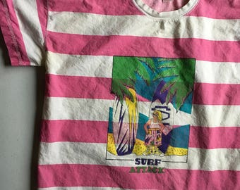 Blue Pacific Shark Attack Pink and White Striped Surf Shirt Size Medium 80's