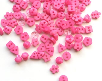 100x 5mm Plastic Pink Buttons / Star Heart Flower Round Fasteners / Sewing Scrapbooking Textiles Crafts