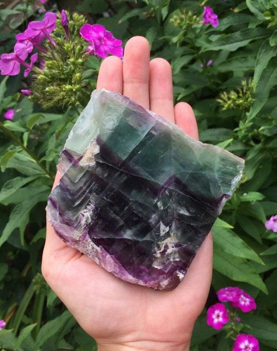 Rainbow Fluorite Slab 320g, Multi-Colored Fluorite, Large Fluorite, Polished Fluorite, Fluorite Plate, Reiki, Meditation, Crystal Grid