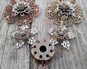 Steampunk Spring Flowers Necklace