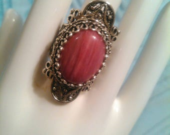 Rhodonite Telkari filigree Sterling silver ring.
