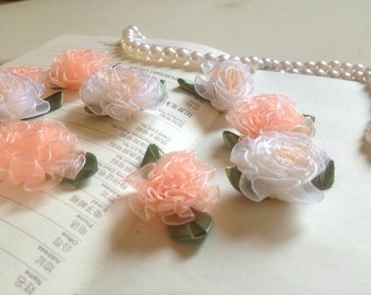 100pcs 3.5-4cm wide ivory/pink flower  tulle embroidery lace appliques patches R50E55W127S free ship