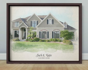 New Home, New Home Gift, House Illustration, Housewarming Gift, Painting from Photo, Watercolor Painting, Wall Art, Watercolor Print