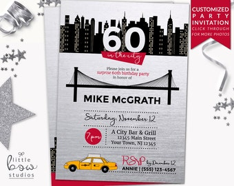 NYC Birthday Printable Invitation, NYC Party Invitation, New York New York Party, City Skyline Invite, 40th Birthday, Any Age Surprise Party