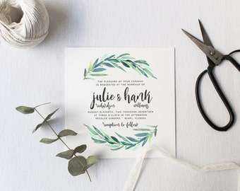 Custom wedding invitations stationery by splashofsilver on etsy greenery wedding invitation suite deposit diy rustic calligraphy bohemian boho solutioingenieria Image collections