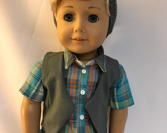 Gray vest 18 inch doll clothes 18 inch boy doll clothes
