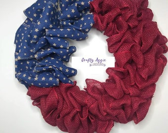 Burlap fourth of July wreath, burlap patriotic wreath, Americana wreath, burlap wreath, USA wreath, burlap wreath for front door