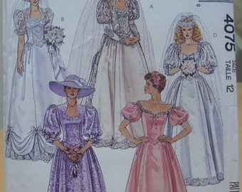 McCall's 4075 Wedding gown bridesmaid formal dress sewing pattern Size 12 UNCUT