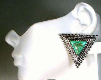 Faux Turquoise Silver Clip Earrings, Medieval TRIANGLES , Unused 1980s