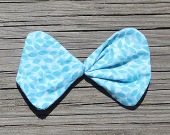 Blue Fabric Hair bow clip, ponytail holder or barrette for girls,toddlers, tweens,teens, adults