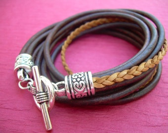 Womens Leather Bracelet, Leather Bracelet, Womens Jewelry, Womens Bracelet, Five Strand, Double Wrap, Antique Brown,Natural, Gift Under 25