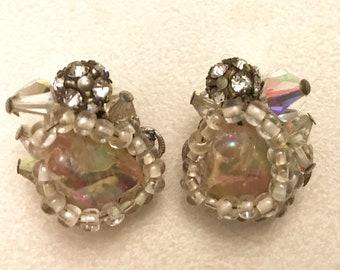 Vintage Robert Aurora Borealis and Clear Bead Rhinestone and Plastic Stone Clip On Earrings