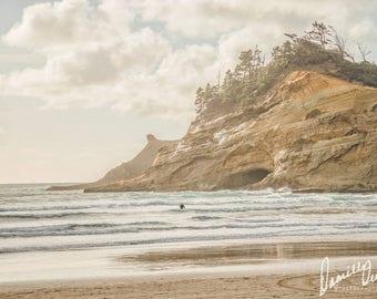 Beach Photography | Oregon Coast | Vintage Style | Pastel Colors | Oregon Beaches | Cape Kiwanda | Ocean Print | Oregon Beach Print