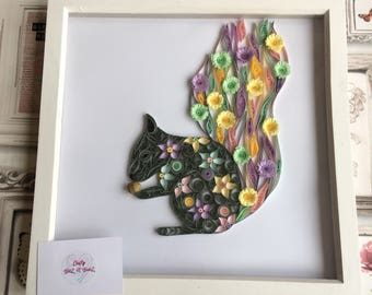 Quilled paper squirrel in 12x12 inch white box frame