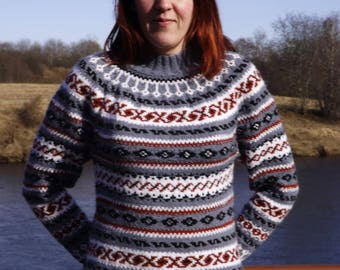 Icelandic sweater Fair isle Norwegian sweater Womens sweater  Handknit sweater