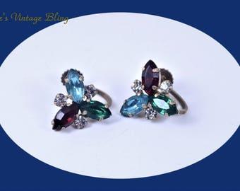 Art Deco Earring's Vintage Earrings Rhinestone Screw Back Earring's Vintage Crystal Earring's Screw Back Earring's Vintage Jewelry