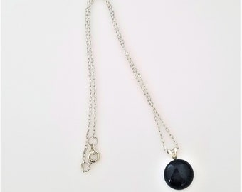 Round Black Glass Cabochon on Silver Chain Necklace