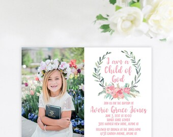 Simple Double Sided Baptism Invitation, Photo Baptism Invitation, LDS Girl Baptism Announcement