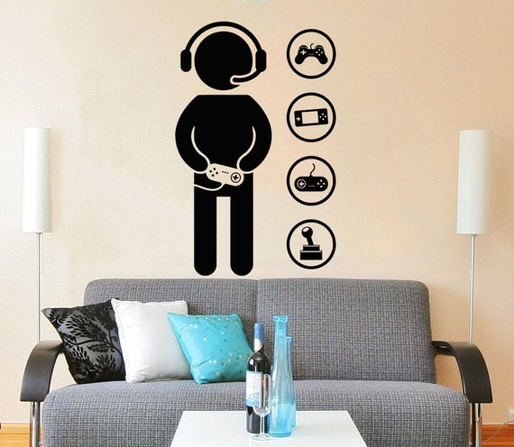 Gamer Wall Decal Vinyl Sticker Decals Game Controllers Gaming