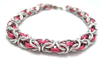 Byzantine Chainmaille Bracelet - Dark Rose Pink and Silver