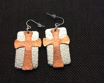 Copper & Sliver Cross earrings. Religious, Handmade, Boho earrings